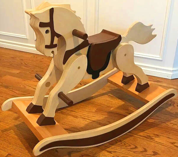 3D design drawings of wooden rocking horses